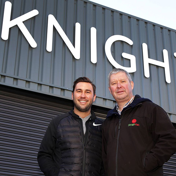 Knight Van Hire owners smiling outside